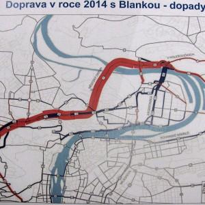 Změna intenzit dopravy po zorovoznění tunelu Blanka (zdroj: Infocentrum TKB).