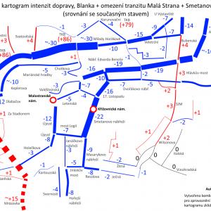 Změna intenzit IAD, bylo-li by se zprovozněním tunelu Blanka také zabráněno tranzitu historickým centrem.