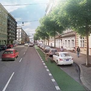 Uliční prostor magistrály na Praze 2 lze výrazně zlidštit i bez snižování počtu jízdních pruhů.